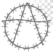 symbol of anarchy from barbed wire. isolated on transparent background