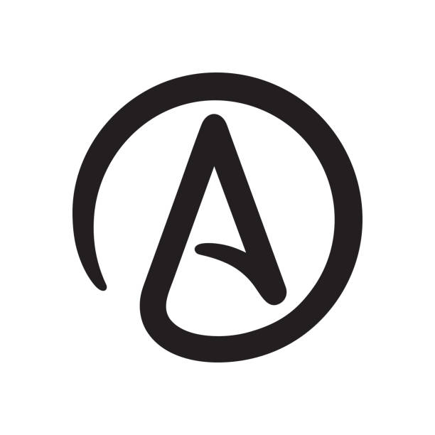 Symbol of Atheism Symbol of Atheism: letter A in circle. Simple black and white atheist sign icon. Isolated vector clip art illustration. alphabet clipart stock illustrations