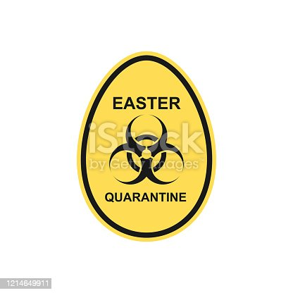 istock Symbol of biohazard in the shape of an egg. Easter quarantine due to the global epidemic of the virus. 1214649911