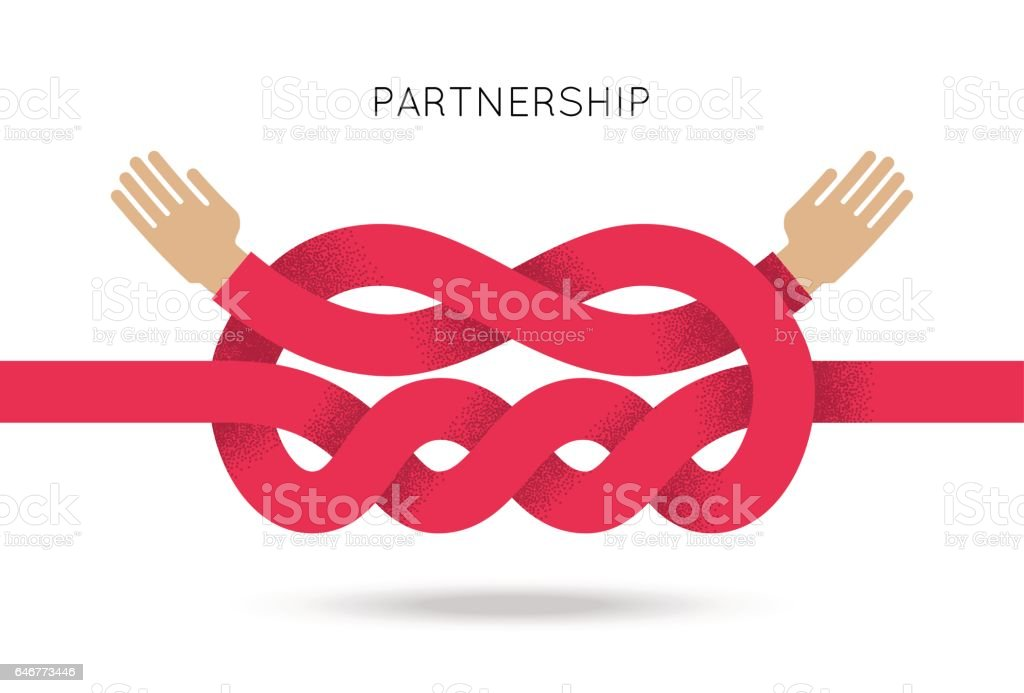 Symbol of business cooperation and partnership vector art illustration
