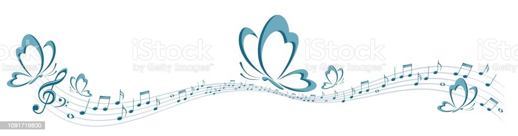 A symbol of the flying butterfly with music notes.