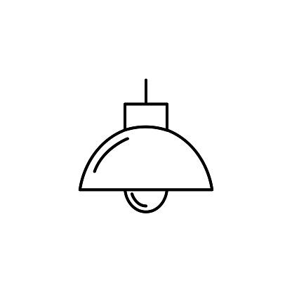 Symbol of Chandelier. Thin line Icon of Furniture. Pictogram Graphic for Web Design. Vector Symbol Concept. Premium Mono Linear Beautiful Plain Laconic Logo