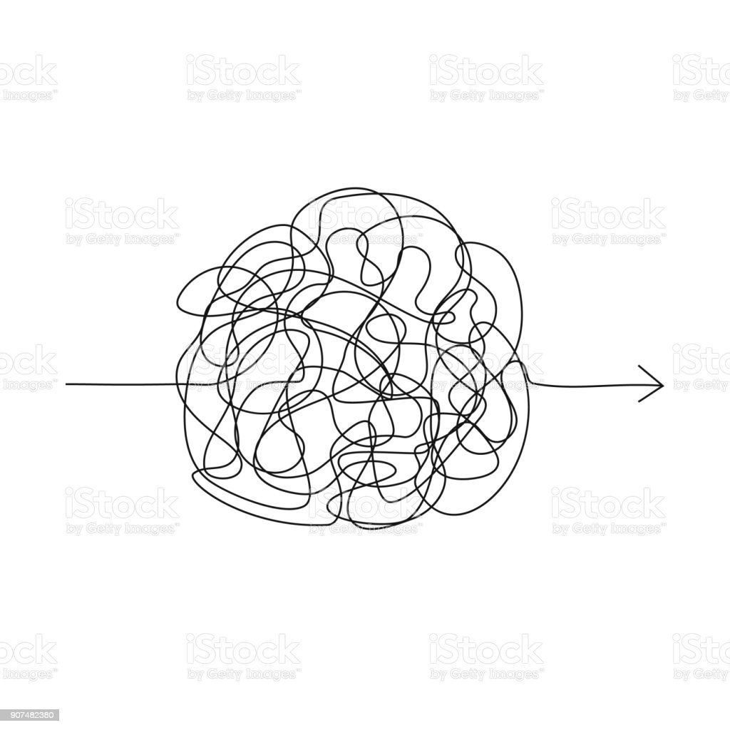 Symbol of complicated way, chaos, pass way arrow vector art illustration