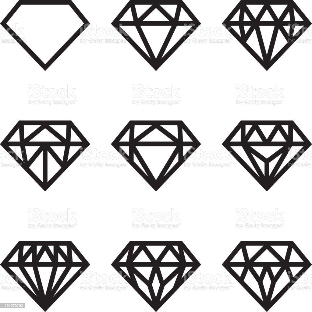 Symbol of diamond, vector set vector art illustration