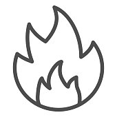 Symbol of fire line icon. Flammable caution sign outline style pictogram on white background. Fire or flame warning sign for mobile concept and web design. Vector graphics