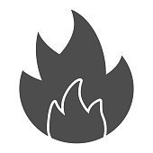 Symbol of fire solid icon. Flammable caution sign glyph style pictogram on white background. Fire or flame warning sign for mobile concept and web design. Vector graphics