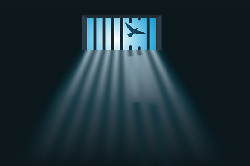 Symbol of freedom with a prisoner who escaped through the window of his cell by sawing the bars.