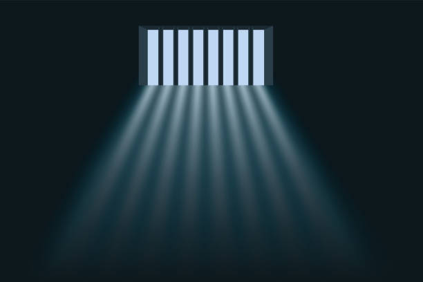 Symbol of freedom with daylight passing through the bars of a prison. vector art illustration