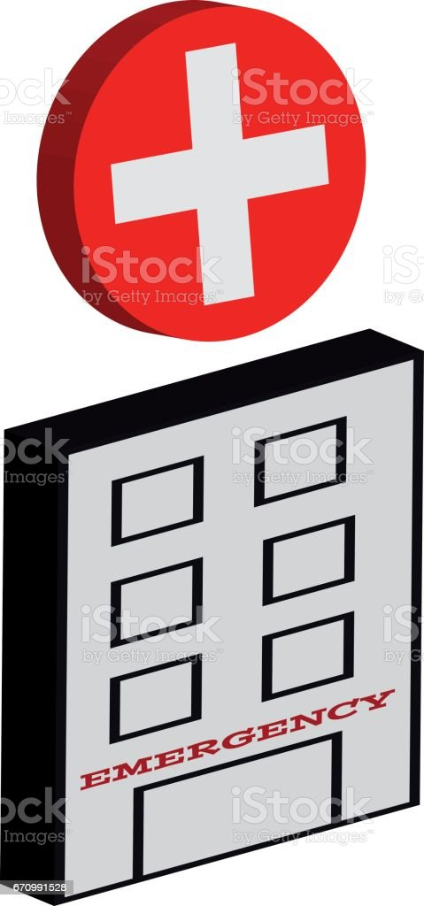 3d Symbol Of Hospital Buildings With Cross Button Isolated On White