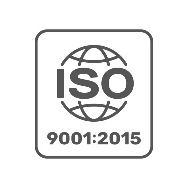 stockillustraties, clipart, cartoons en iconen met symbool van iso 9001 2015 gecertificeerd. vector illustratie. eps 10. - 2015