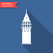 istock Symbol of Istanbul and Turkey. Galata Tower vector flat icon with long shadow 1069602904