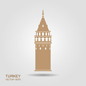 istock Symbol of Istanbul and Turkey. Galata Tower vector flat icon with shadow 1058702456
