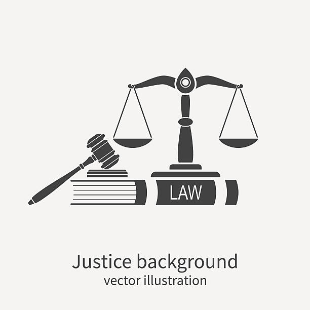 기호까지 법률 및 행정학. 컨셉입니다 관계법 및 행정학. - 나무망치 stock illustrations