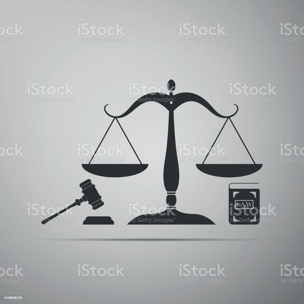 https www istockphoto com tr vekt c3 b6r hukuk ve adalet sembol c3 bc kavram hukuk adalet tokmak ve kitap simgesi gri arka plan gm849938208 140726581