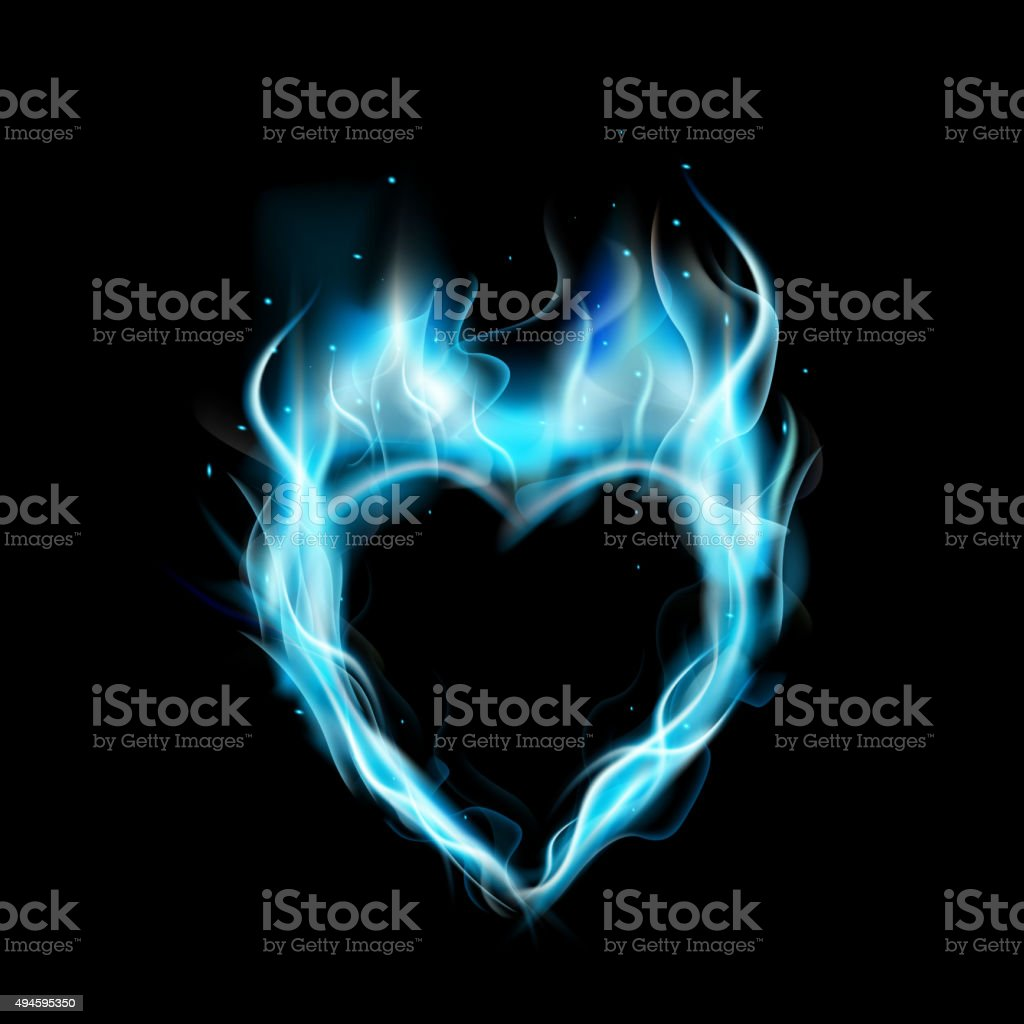 Symbol Of Love Blue Ring Of Fire With Black Background Stock Vector