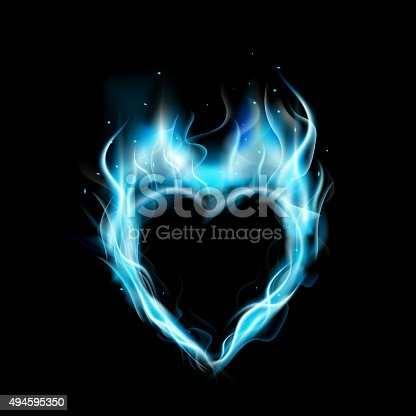 Symbol Of Love Blue Ring Of Fire With Black Background