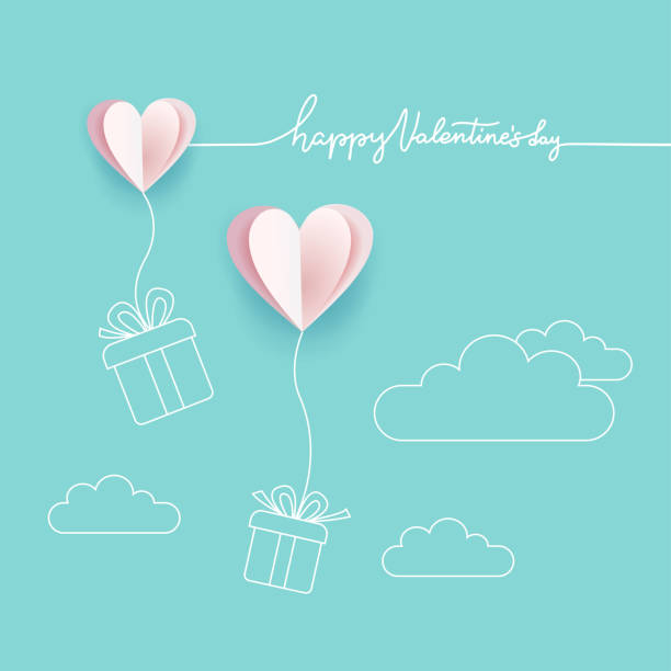 symbol miłości na turkusowym niebieskim tle, kartka z życzeniami, papierowy wzór z linią stylu sztuki z happy valentine's day lettering. serca z pudełkami na prezenty. ilustracja wektorowa z miejscem na tekst - kartka na walentynki stock illustrations