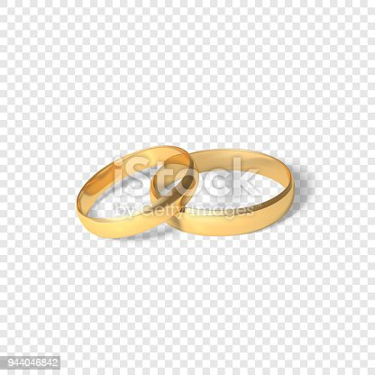 Symbol Of Marriage Couple Of Golden Rings Two Gold Rings Vector