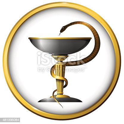 Symbol Of Medicine Snake Metal Gold And Silver Stockvectorbeelden