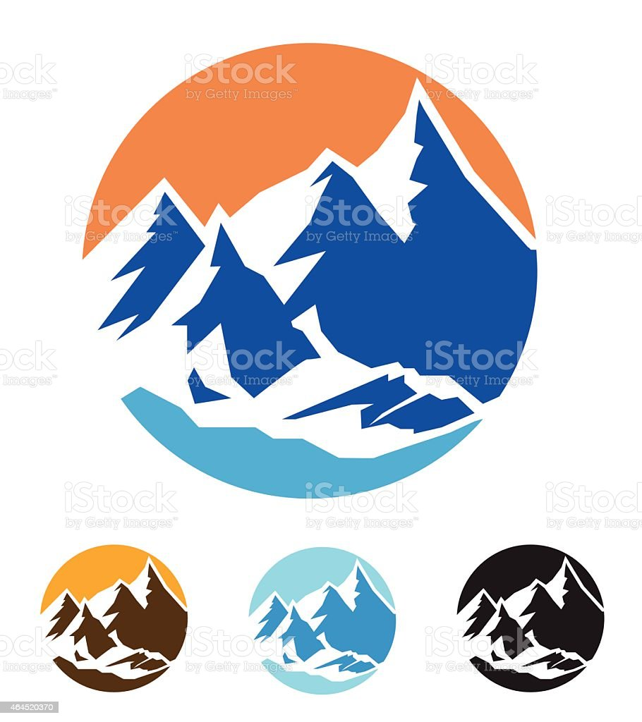 symbol of mountains vector art illustration