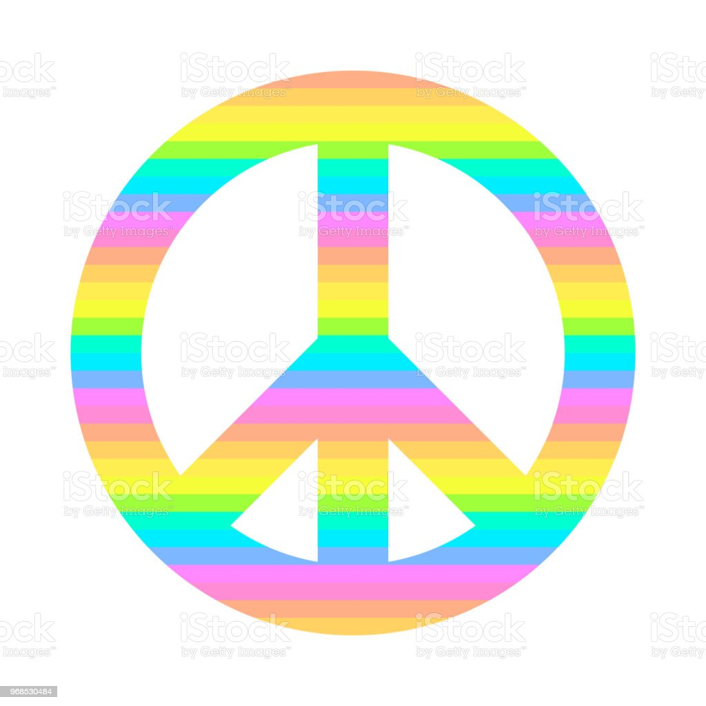 Symbol Of Peace Strips Of All Colors Of The Rainbow Vector Icon