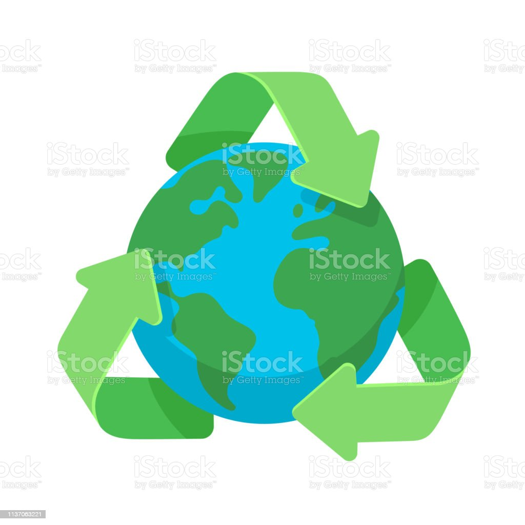 Symbol of recycling around green planet earth globe flat design icon...