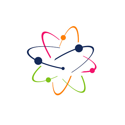 Symbol of science research Atom logo Vector icon illustration. electrons rotate in orbits around atomic nucleus concept