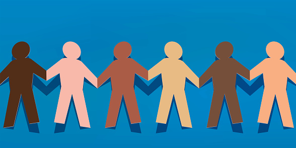 Symbol of solidarity between peoples with paper characters of different colors that hold hands.