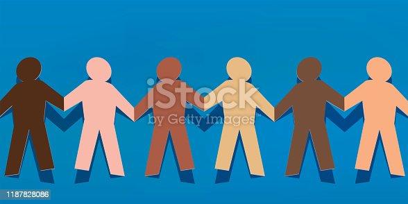 Concept de la solidarité et de la paix entre les peuples, avec une chaine humaine multiraciale, reliant par la main des personnages en papier, de couleurs différentes.