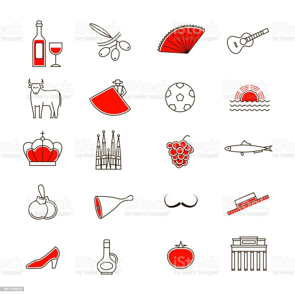 Símbolo de conjunto de ícones de linha fina de Espanha. Vector - ilustração de arte em vetor