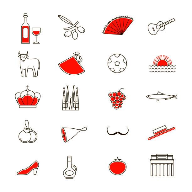 スペインの細い線のアイコン セットのシンボルです。ベクトル - スペイン料理点のイラスト素材/クリップアート素材/マンガ素材/アイコン素材