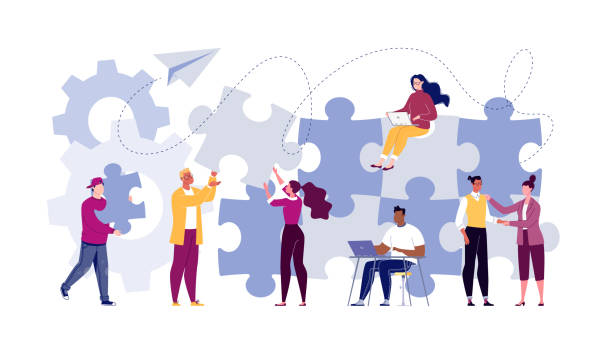 Symbol of teamwork, cooperation, partnership. Team building concept. Business team metaphor. Business partners or company employees work together on a project. Young people put together puzzle pieces. Illustration.Vector. Flat. Cartoon. collaboration stock illustrations