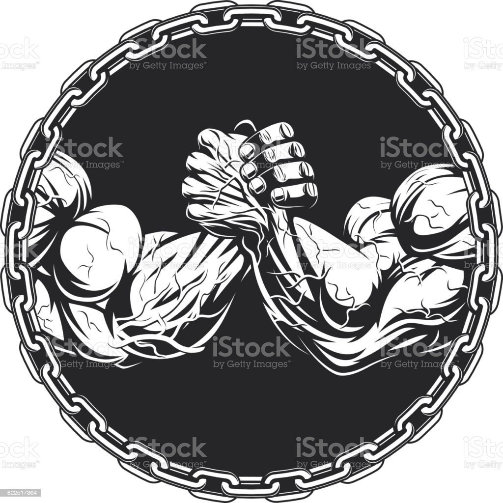 Symbol of the competition on armwrestling vector art illustration
