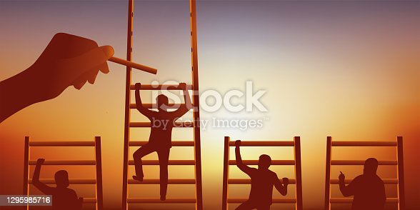 istock Symbol of the leadership race with 4 men climbing a ladder and one of them that is favored. 1295985716
