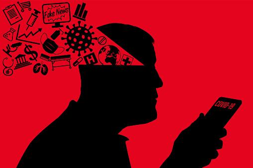 Concept de l'épidémie de COVID-19 et de la course à l'information sur les réseaux sociaux, avec un homme qui se fait manipuler par les fake news.