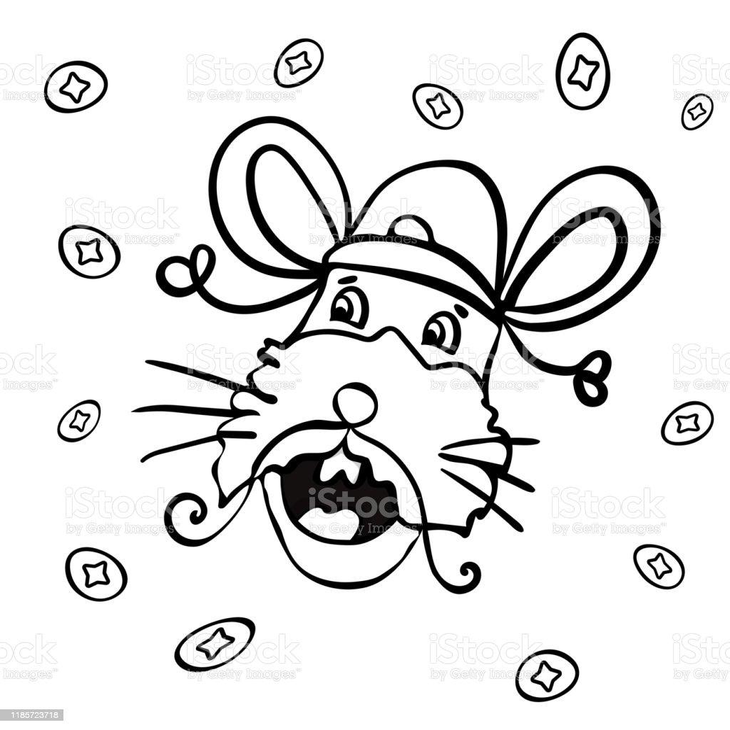 Symbole Du Nouvel An 2020 Style De Dessin Anime Coloriage Page Ou Livre Pour Enfants Adultes Vecteur Illustration De Vecteur Vecteurs Libres De Droits Et Plus D Images Vectorielles De 2020 Istock