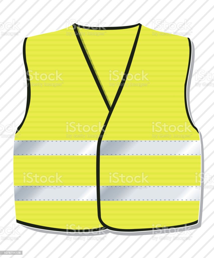 Symbol of the protest movement against the French government, yellow vests. Yellow coat with reflective stripes