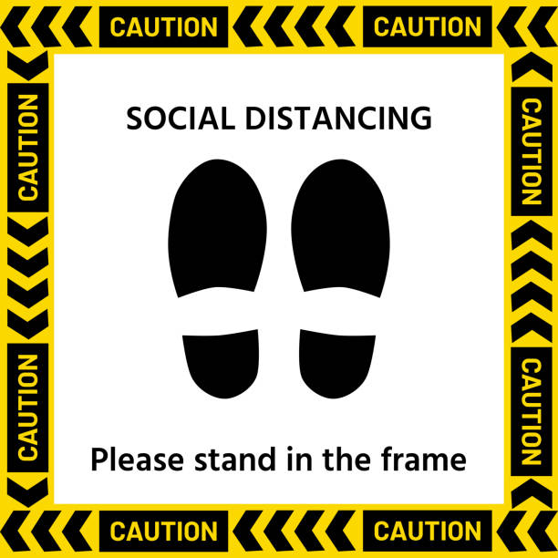 symbol of the standpoint in a yellow frame with the text - social distancing stock illustrations