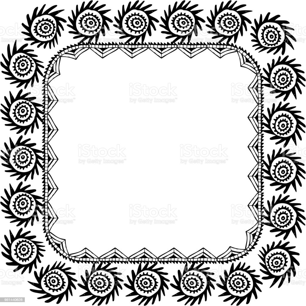 Symbol Of The Sun Beautiful Card With Native Zigzag Ornaments Square