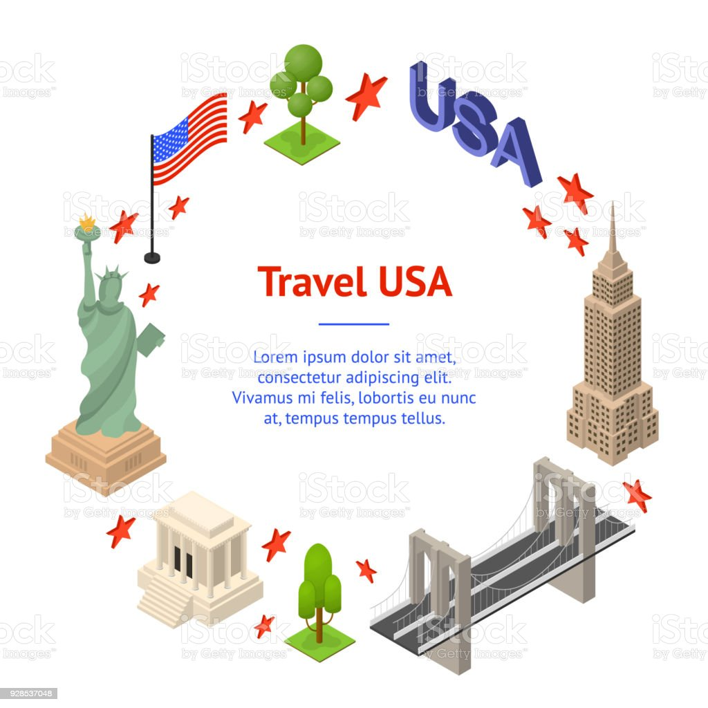 Symbol Of Usa Banner Card Circle Concept Travel Isometric View