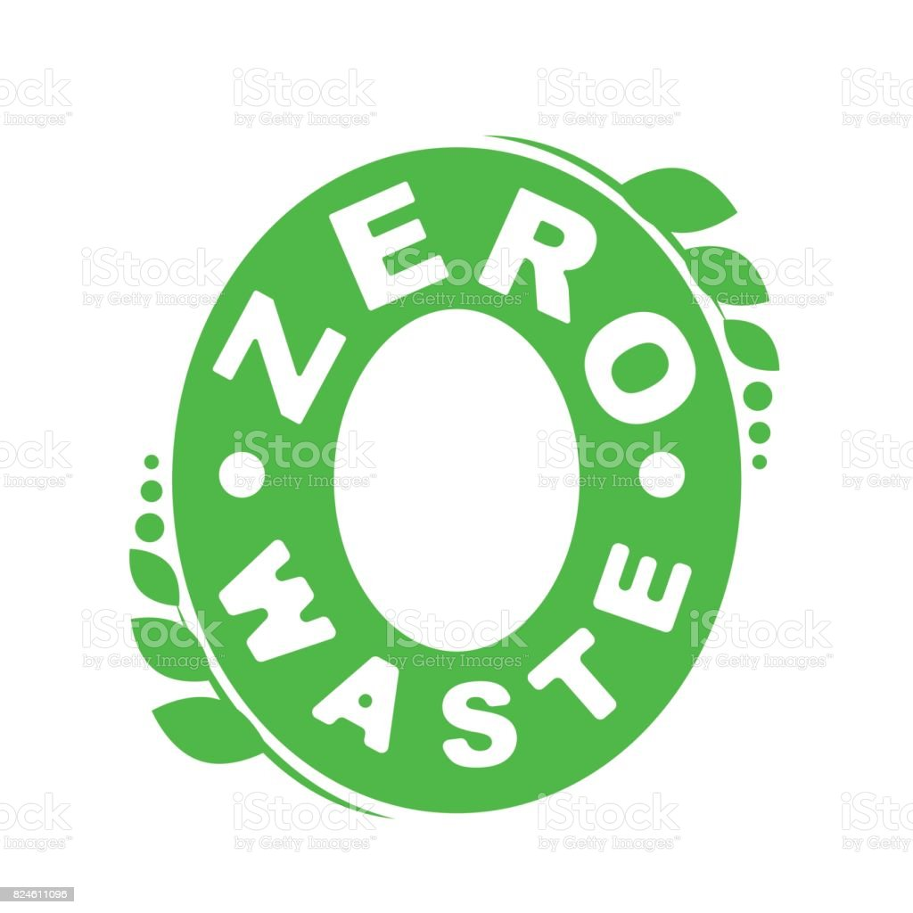 Symbol Or Badge Of Zero Waste Garbage Processing And Recycling