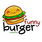Cute and funny symbol or label for funny burger store or company