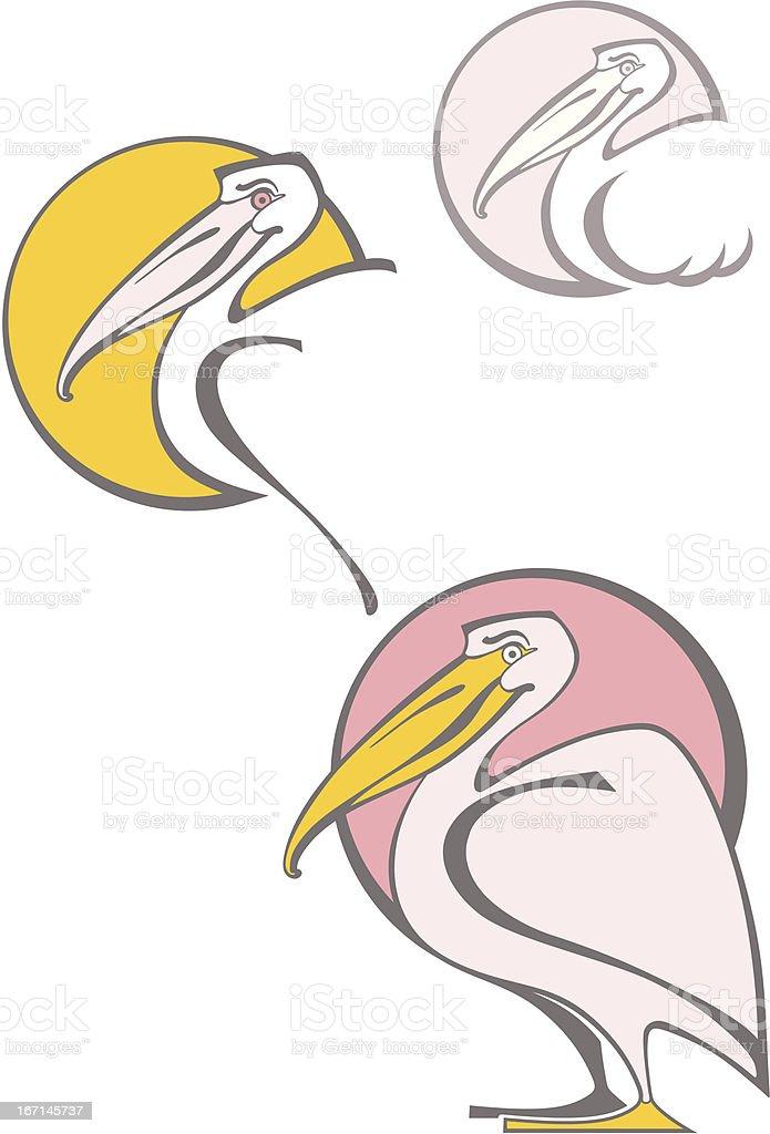 Symbol pelican. vector art illustration