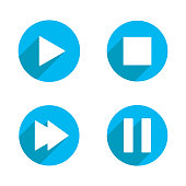 istock Symbol play stop for video longshadow icon vector 1221158688