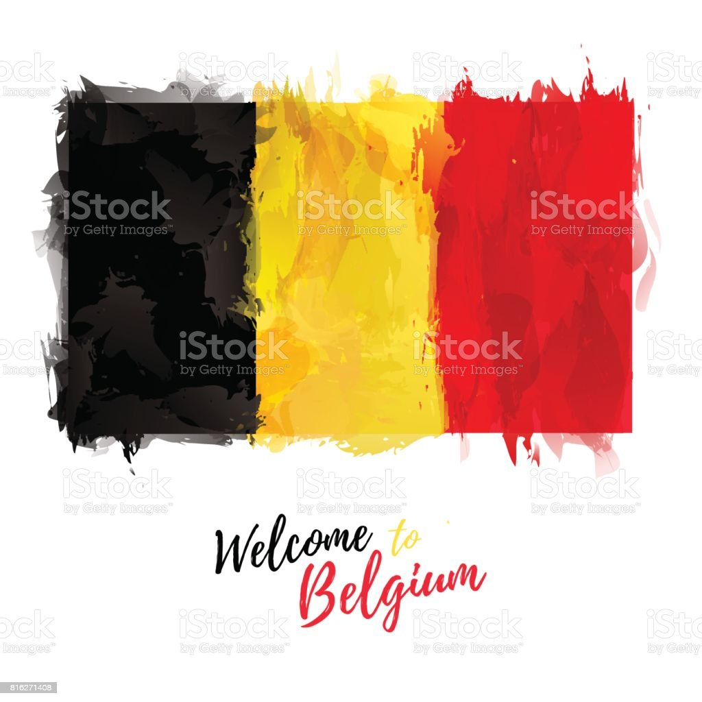 Symbol, poster, banner Belgium. Flag of Belgium with the decoration of the national color. Watercolor style drawing. Vector. vector art illustration