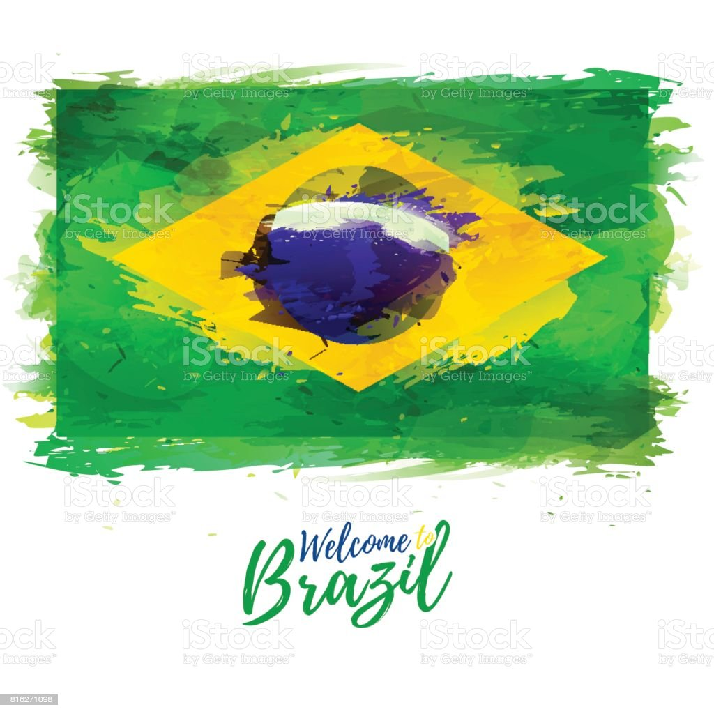 Symbol, poster, banner Brazil. Flag of Brazil with the decoration of the national symbol and color. Style watercolor drawing.  Vector illustration vector art illustration