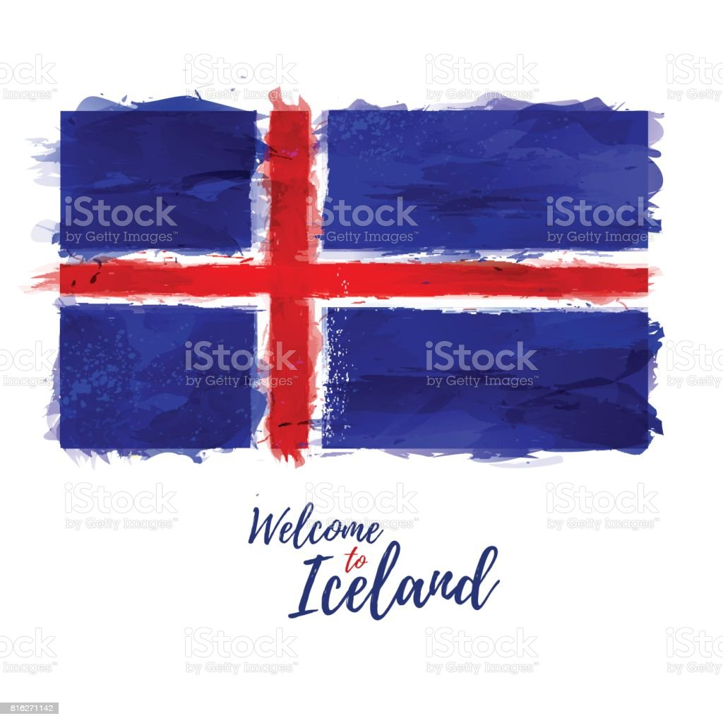 Symbol, poster, banner Iceland. Flag of Iceland with the decoration of the national color. Style watercolor drawing. Brush texture. Vector vector art illustration