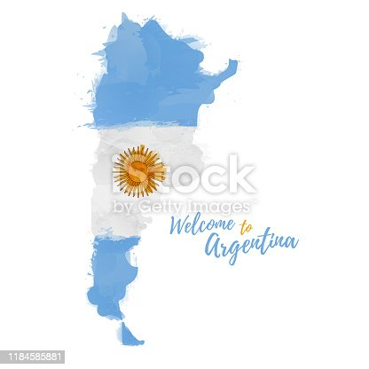 istock Symbol, poster, banner the Argentine. Map of Argentine Republic with the decoration of the national flag. Style watercolor drawing. La Argentina map with national flag. Vector. 1184585881