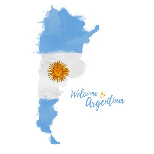 illustrations, cliparts, dessins animés et icônes de symbole, affiche, bannière de l'argentine. carte de la république argentine avec la décoration du drapeau national. dessin à l'aquarelle de style. carte de la argentine avec le drapeau national. vecteur. - argentine