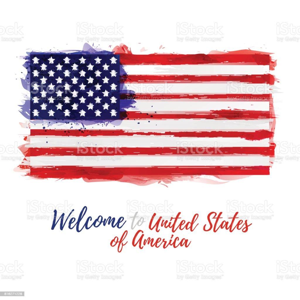 Symbol Poster Bannerusa Flagge Der Vereinigten Staaten Von Amerika ...